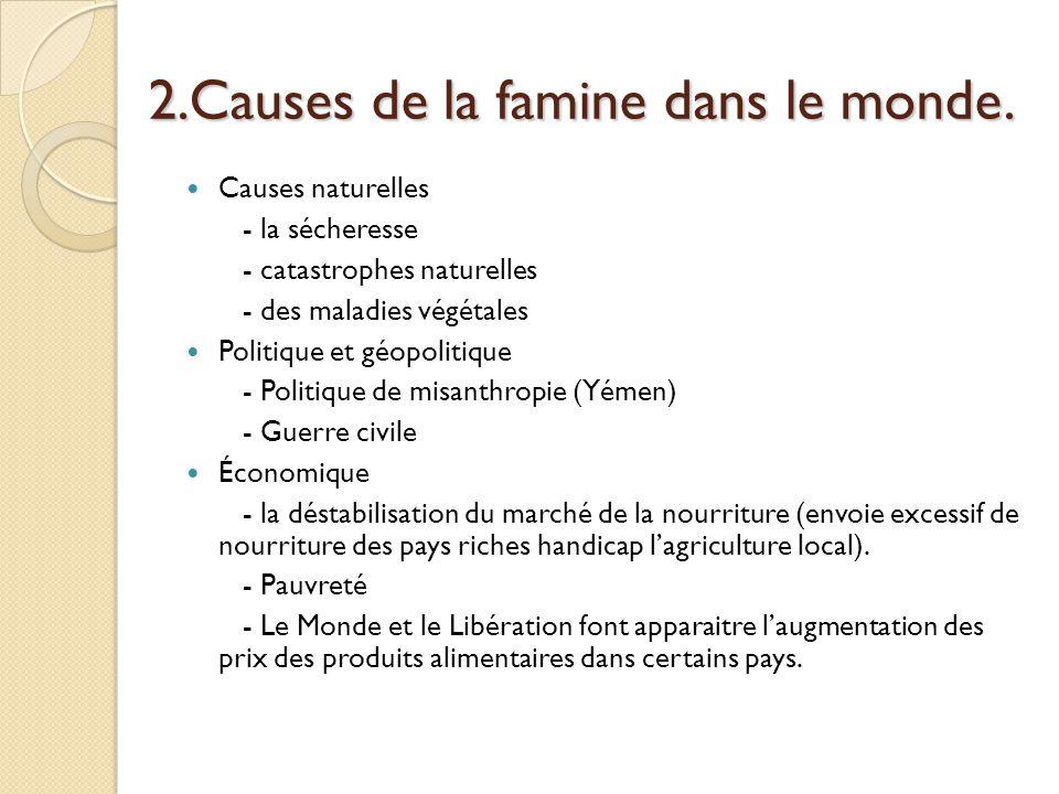 2.Causes de la famine dans le monde.