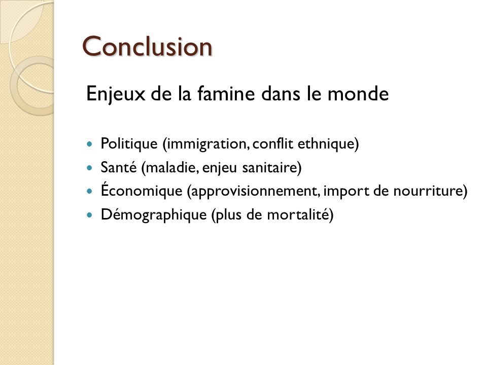 Conclusion Enjeux de la famine dans le monde