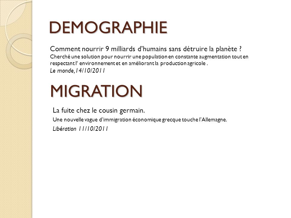 DEMOGRAPHIE MIGRATION
