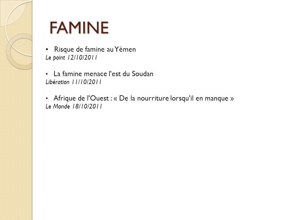 FAMINE Risque de famine au Yémen Le point 12/10/2011