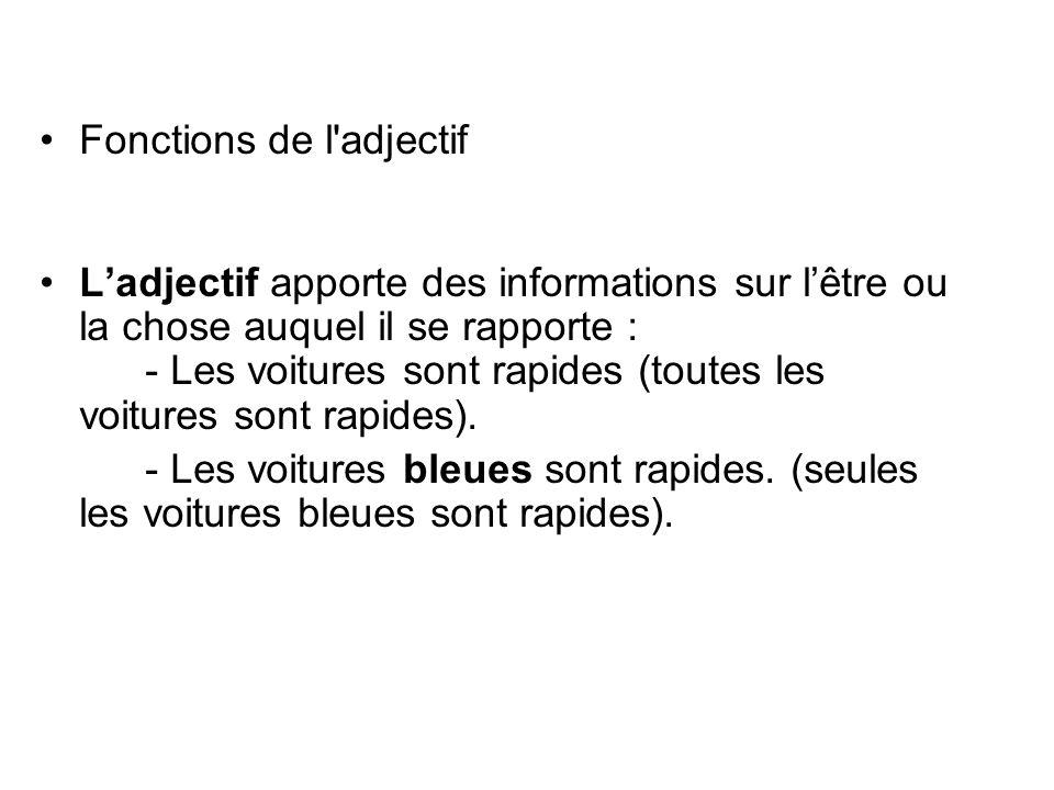 Fonctions de l adjectif