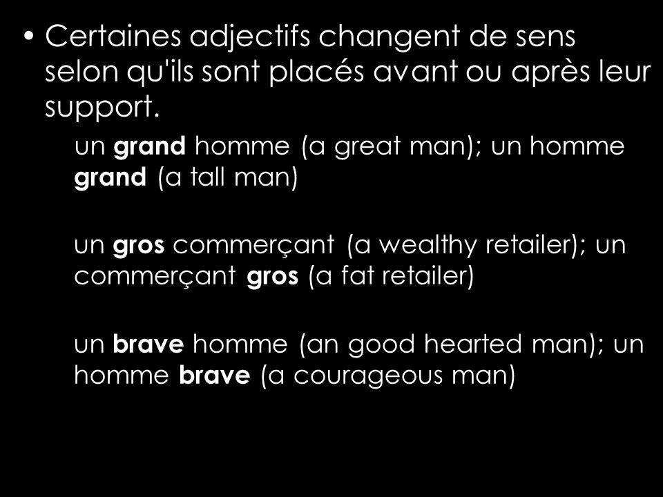 Certaines adjectifs changent de sens selon qu ils sont placés avant ou après leur support.