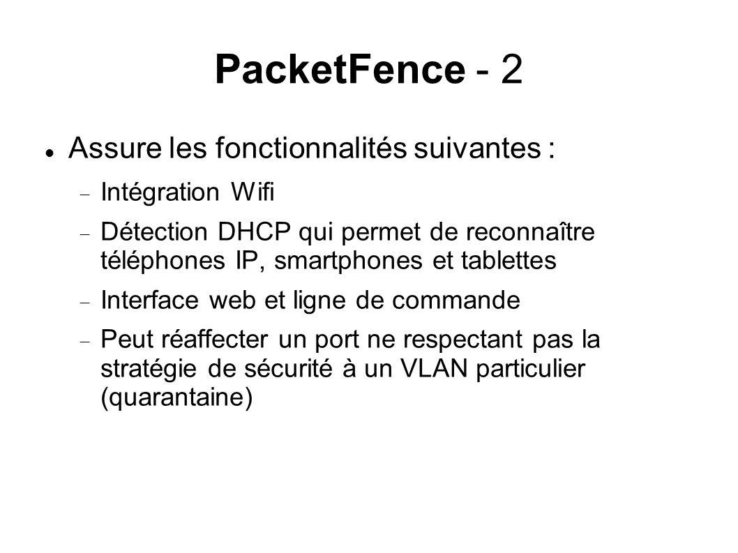 PacketFence - 2 Assure les fonctionnalités suivantes :
