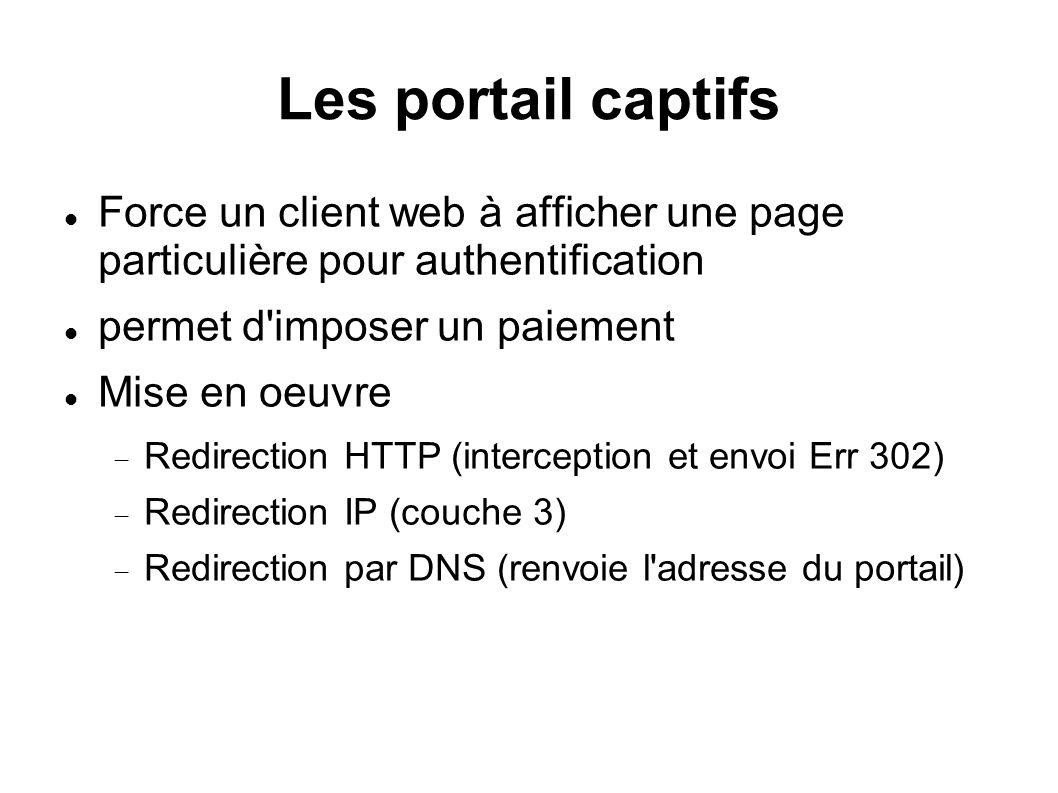 Les portail captifs Force un client web à afficher une page particulière pour authentification. permet d imposer un paiement.