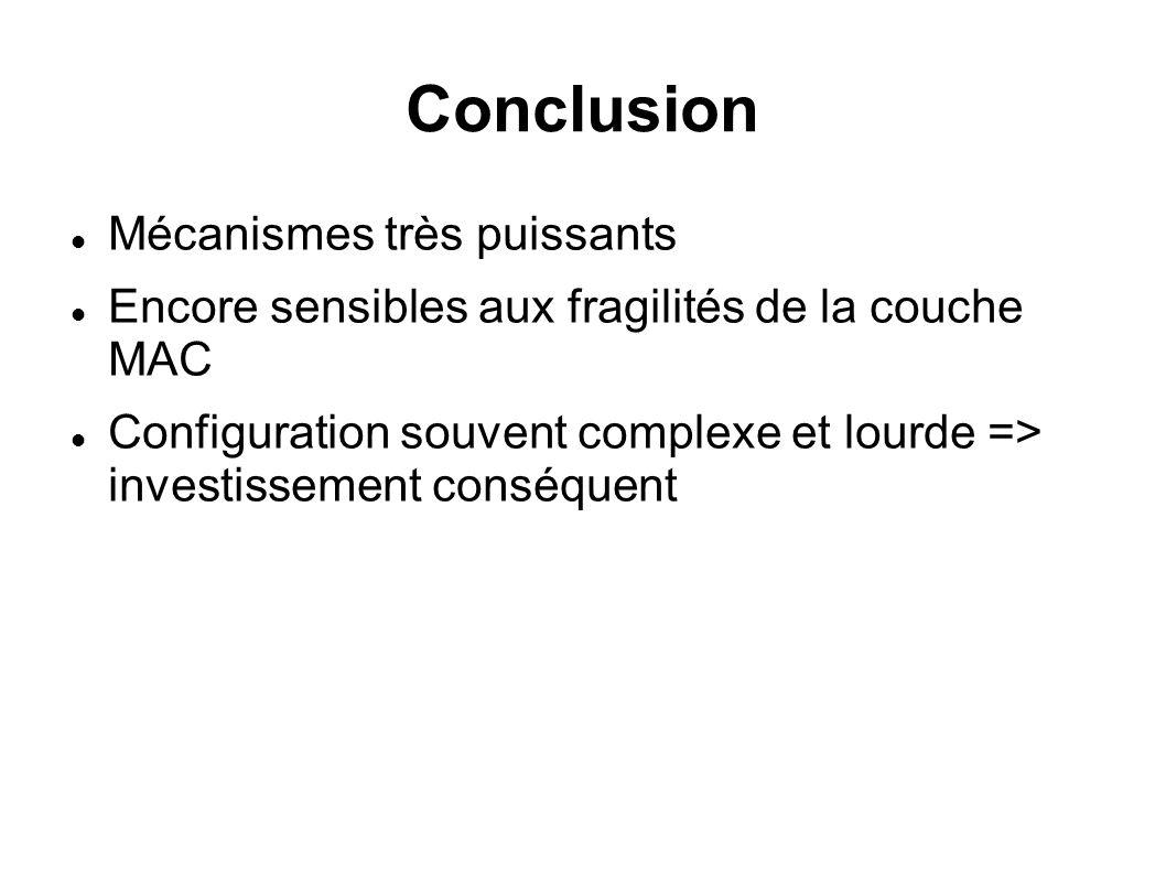 Conclusion Mécanismes très puissants