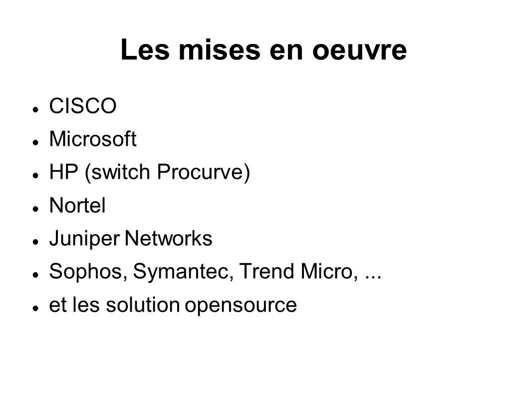 Les mises en oeuvre CISCO Microsoft HP (switch Procurve) Nortel