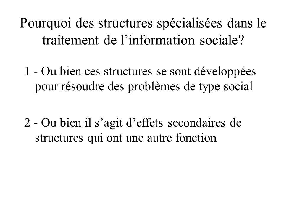 Pourquoi des structures spécialisées dans le traitement de l'information sociale