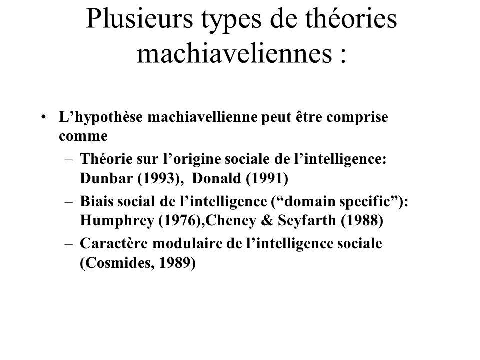 Plusieurs types de théories machiaveliennes :