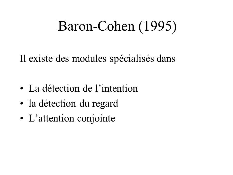 Baron-Cohen (1995) Il existe des modules spécialisés dans