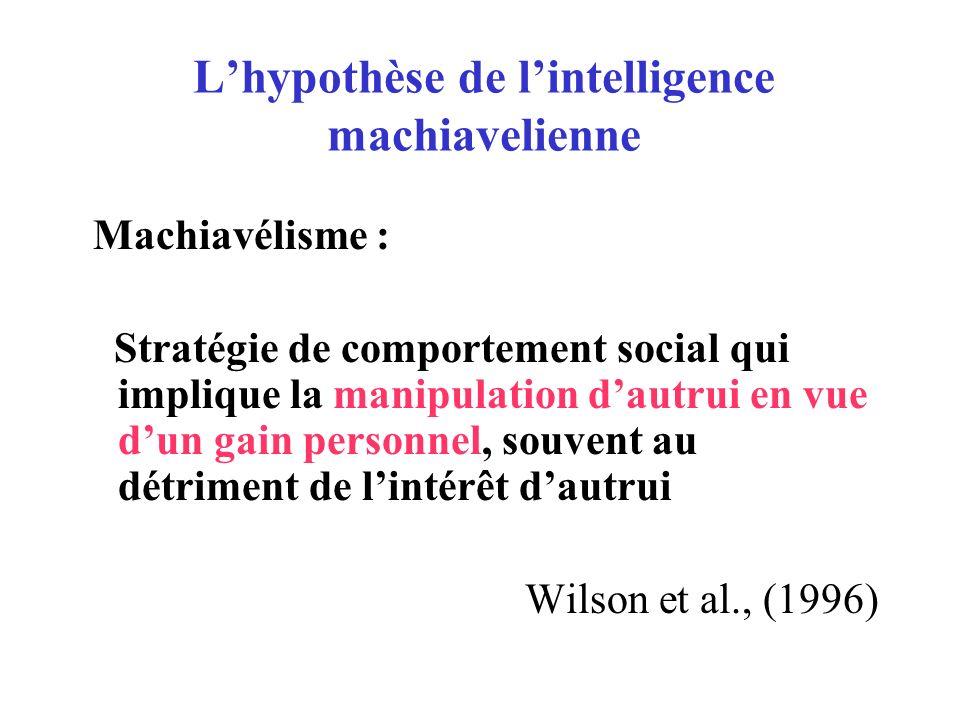 L'hypothèse de l'intelligence machiavelienne