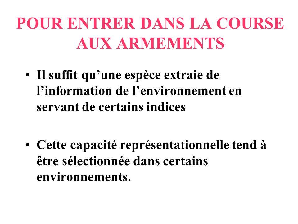 POUR ENTRER DANS LA COURSE AUX ARMEMENTS