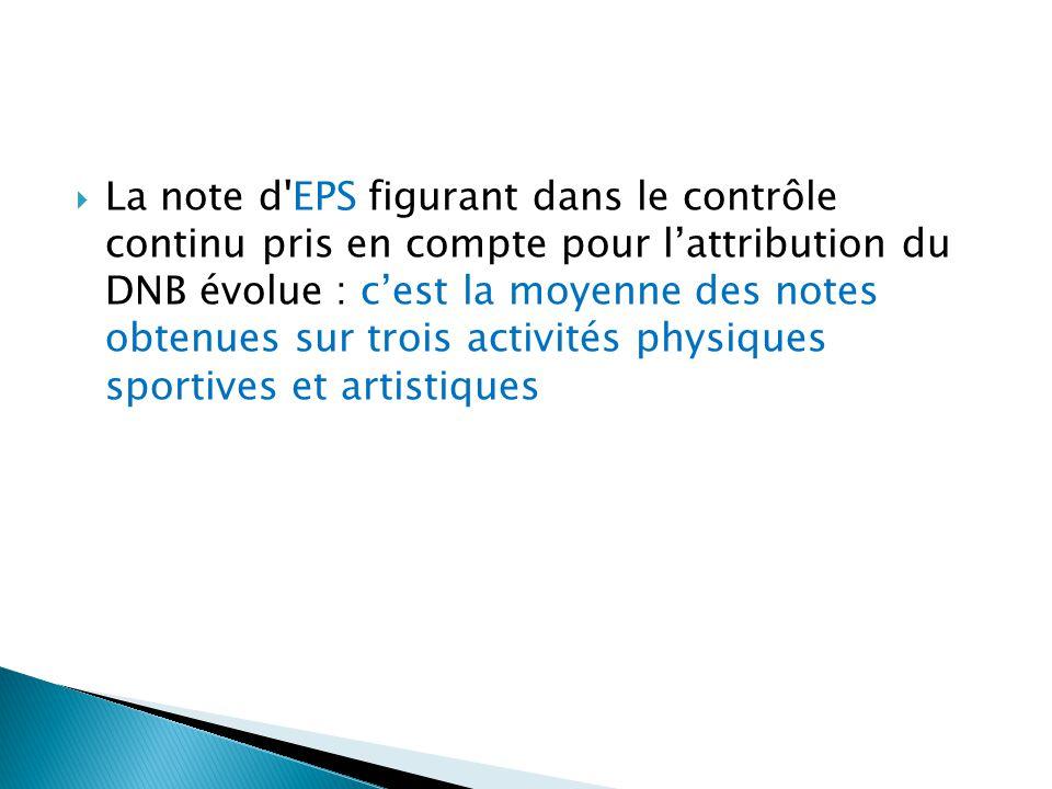 La note d EPS figurant dans le contrôle continu pris en compte pour l'attribution du DNB évolue : c'est la moyenne des notes obtenues sur trois activités physiques sportives et artistiques