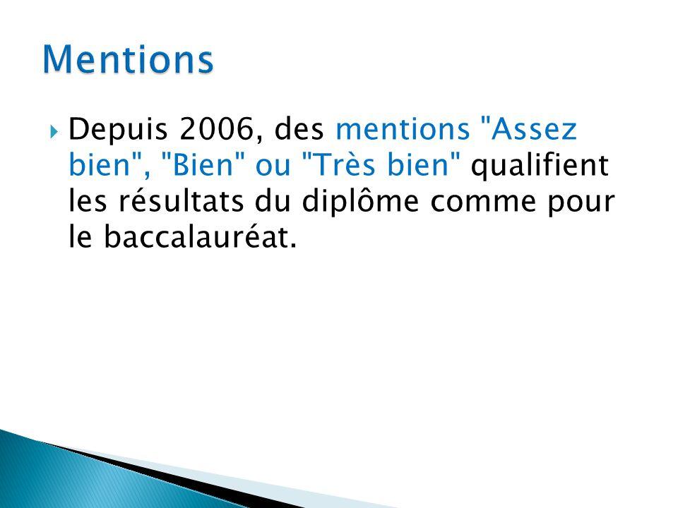 Mentions Depuis 2006, des mentions Assez bien , Bien ou Très bien qualifient les résultats du diplôme comme pour le baccalauréat.