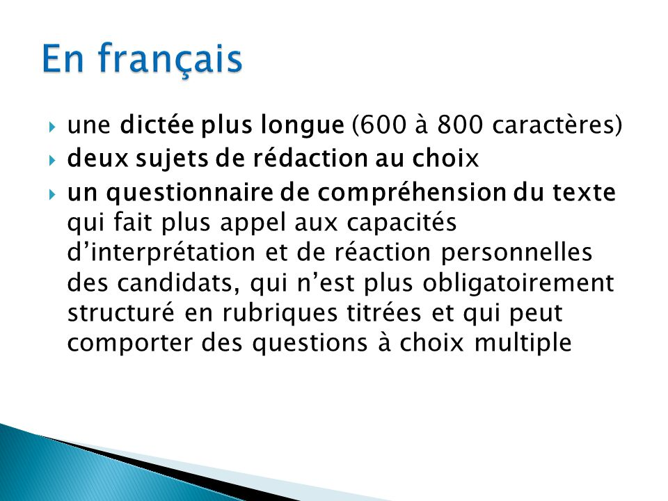 En français une dictée plus longue (600 à 800 caractères)