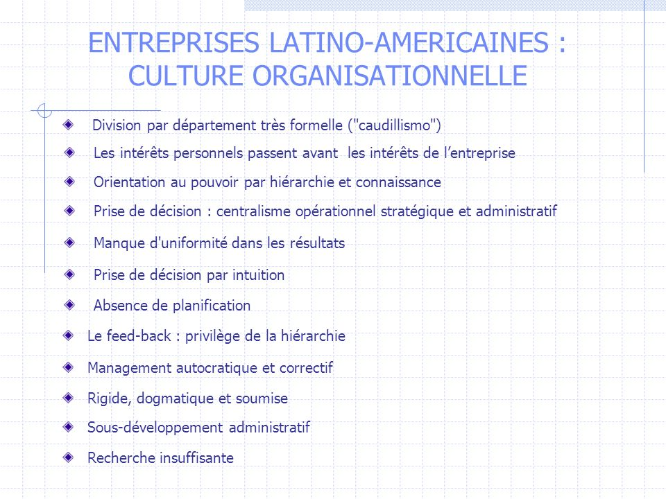 ENTREPRISES LATINO-AMERICAINES : CULTURE ORGANISATIONNELLE