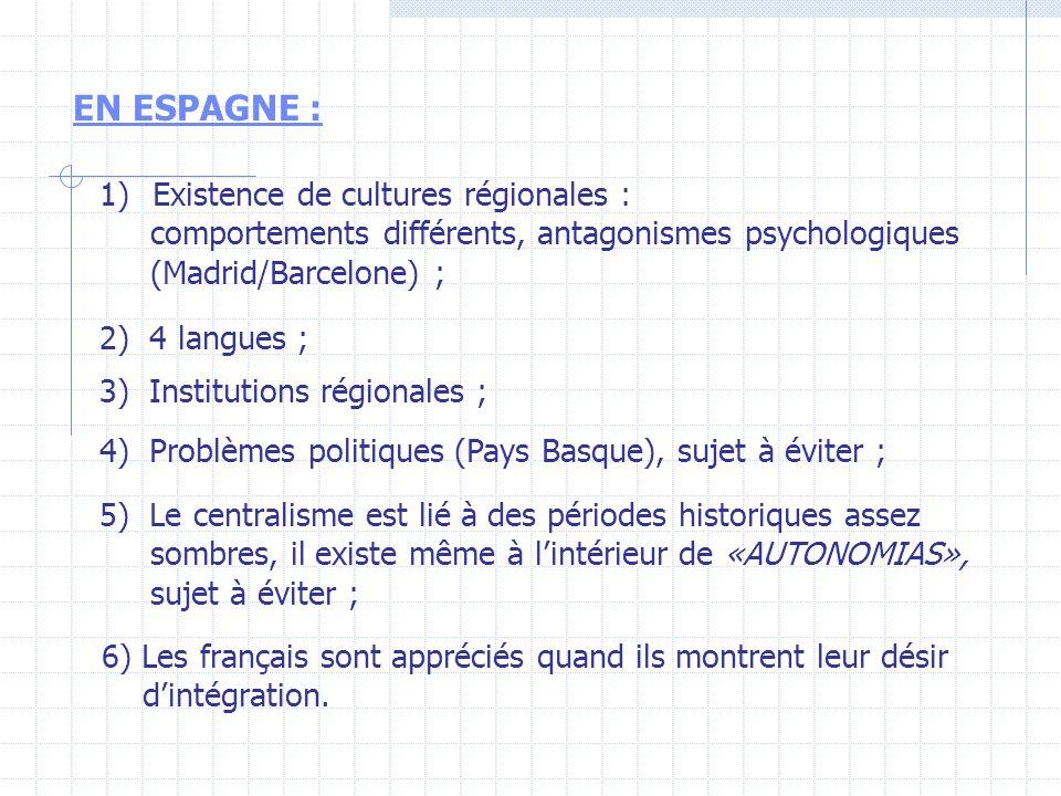 EN ESPAGNE : Existence de cultures régionales :