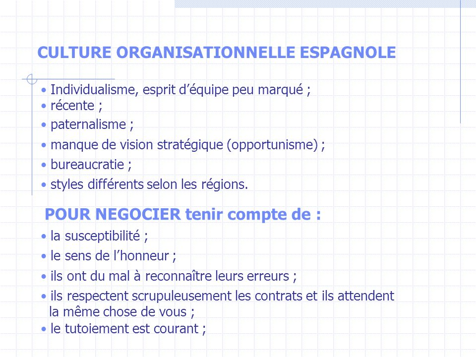 CULTURE ORGANISATIONNELLE ESPAGNOLE