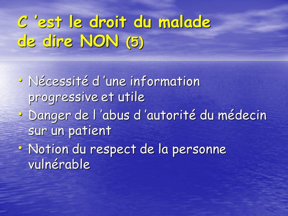 C 'est le droit du malade de dire NON (5)