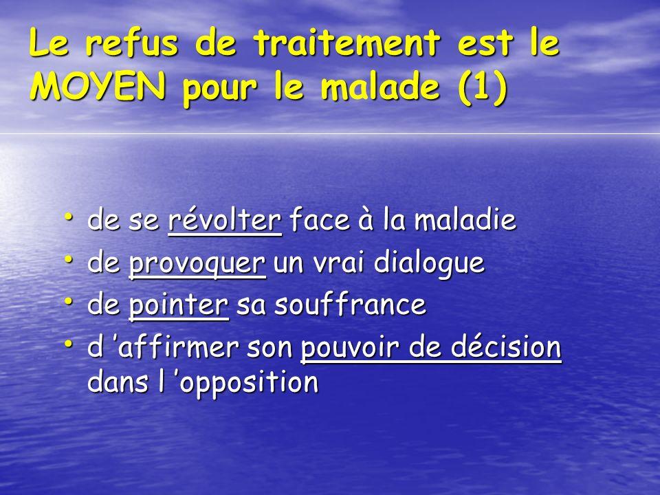 Le refus de traitement est le MOYEN pour le malade (1)