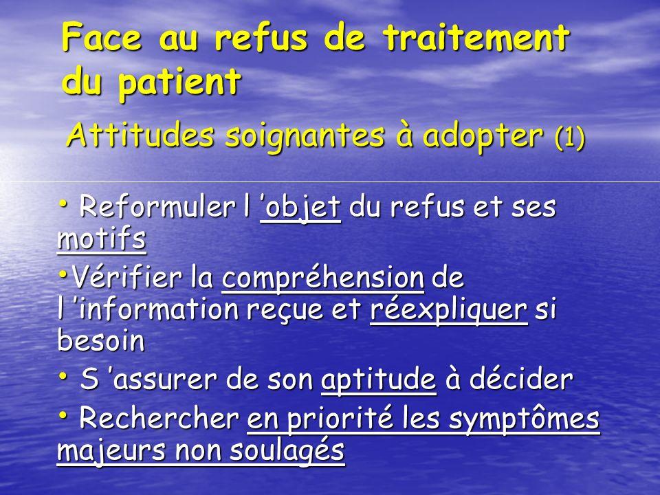 Face au refus de traitement du patient