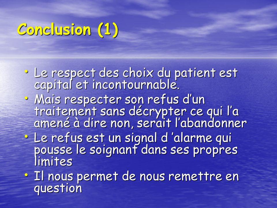 Conclusion (1)Le respect des choix du patient est capital et incontournable.