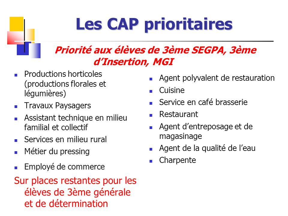 Priorité aux élèves de 3ème SEGPA, 3ème d'Insertion, MGI