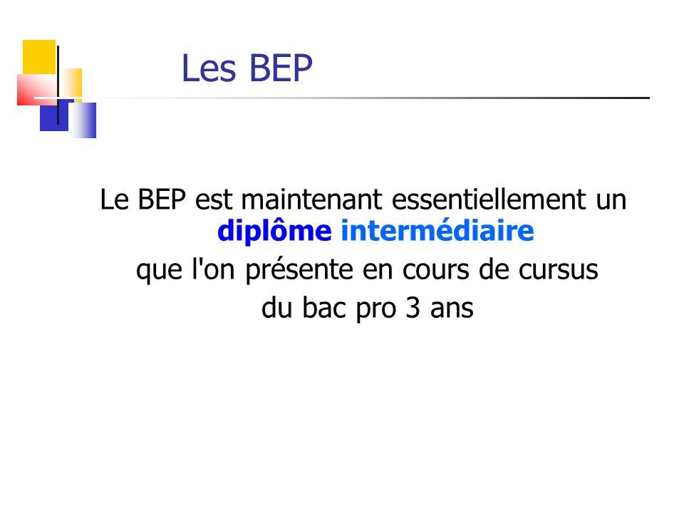 Les BEP Le BEP est maintenant essentiellement un diplôme intermédiaire