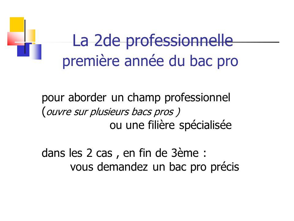 La 2de professionnelle première année du bac pro pour aborder un champ professionnel (ouvre sur plusieurs bacs pros ) ou une filière spécialisée dans les 2 cas , en fin de 3ème : vous demandez un bac pro précis