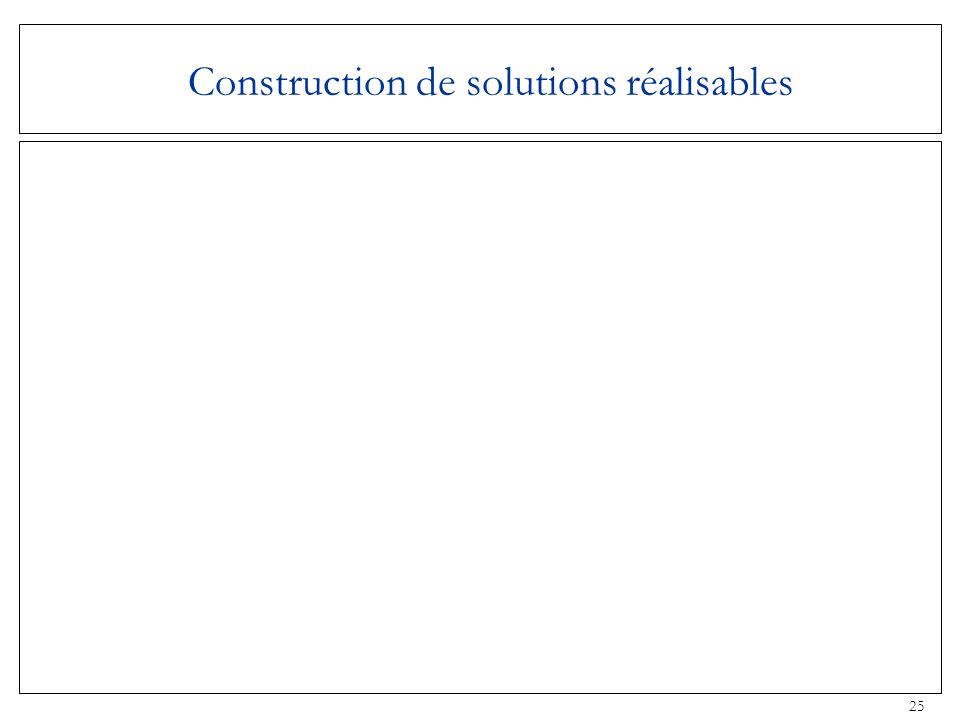 Construction de solutions réalisables