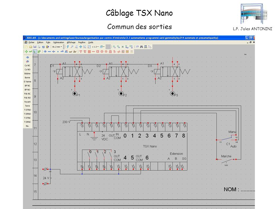 Câblage TSX Nano Commun des sorties L.P. Jules ANTONINI