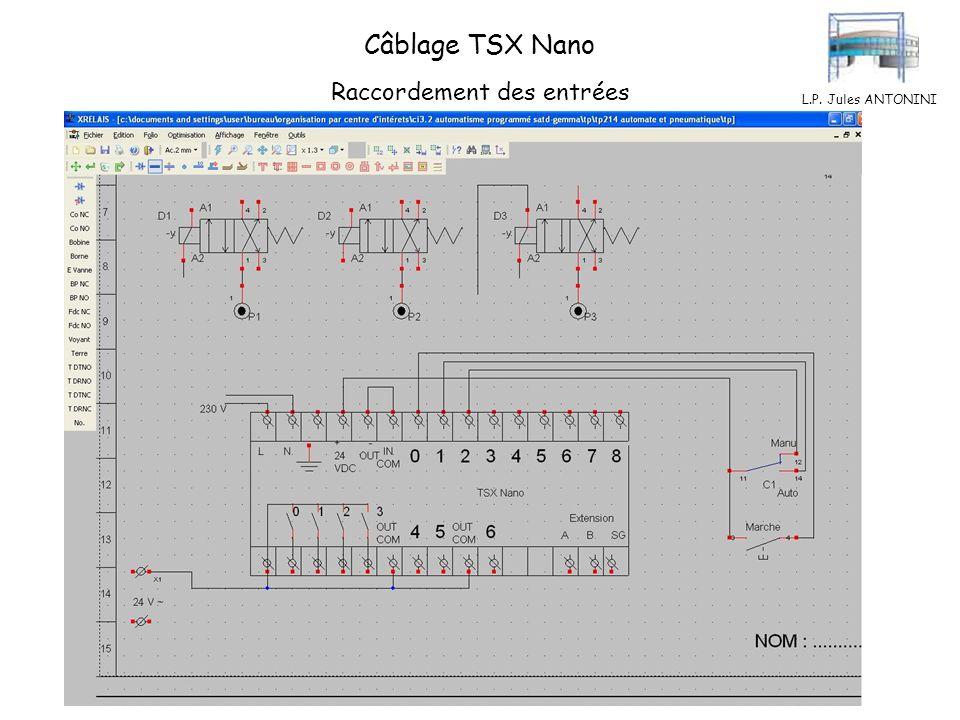 Câblage TSX Nano Raccordement des entrées L.P. Jules ANTONINI