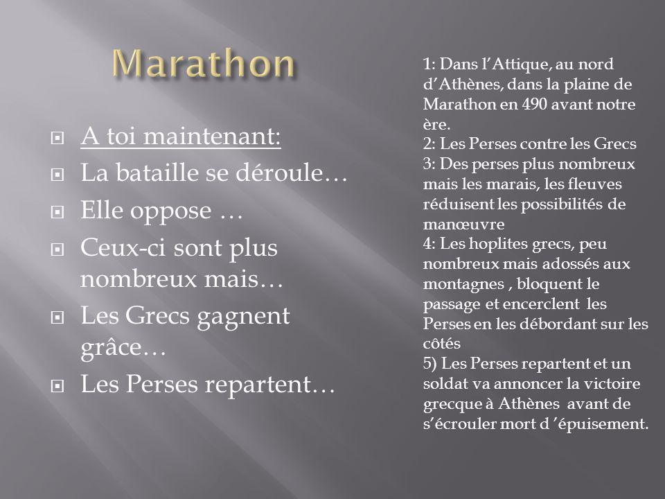 Marathon A toi maintenant: La bataille se déroule… Elle oppose …