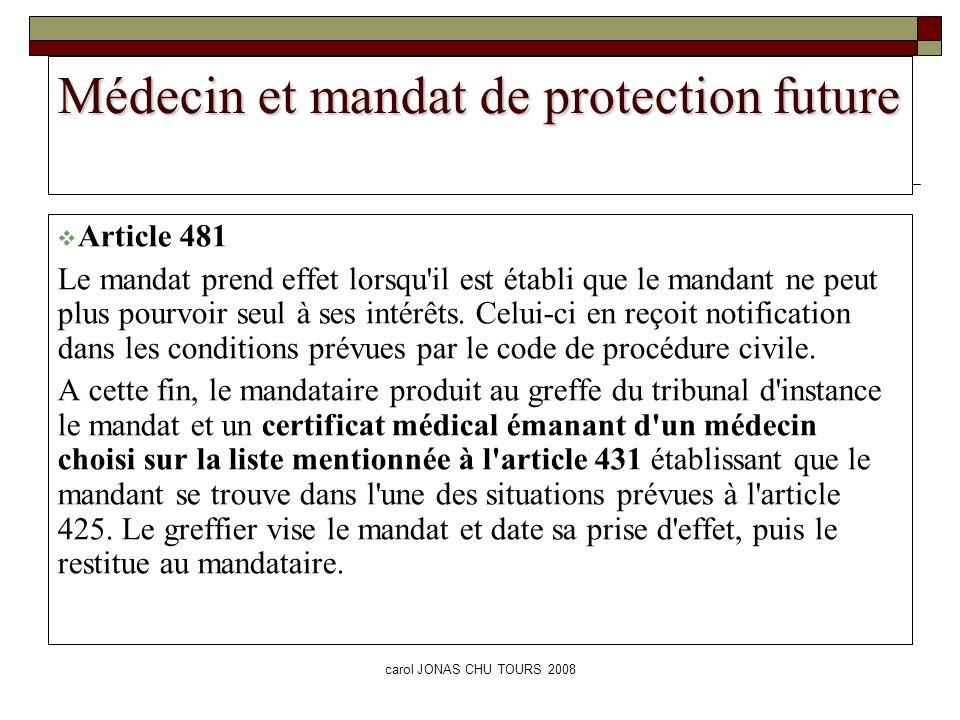 Médecin et mandat de protection future