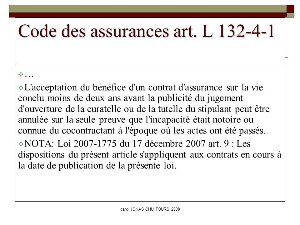 Code des assurances art. L 132-4-1