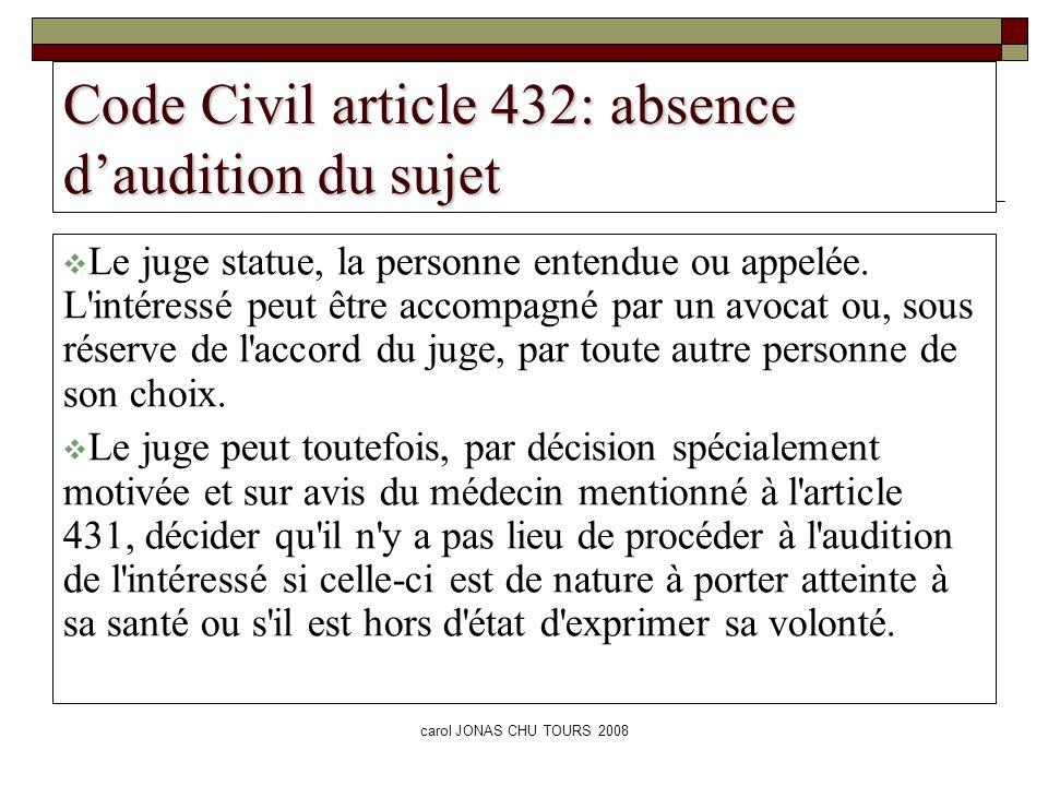 Code Civil article 432: absence d'audition du sujet