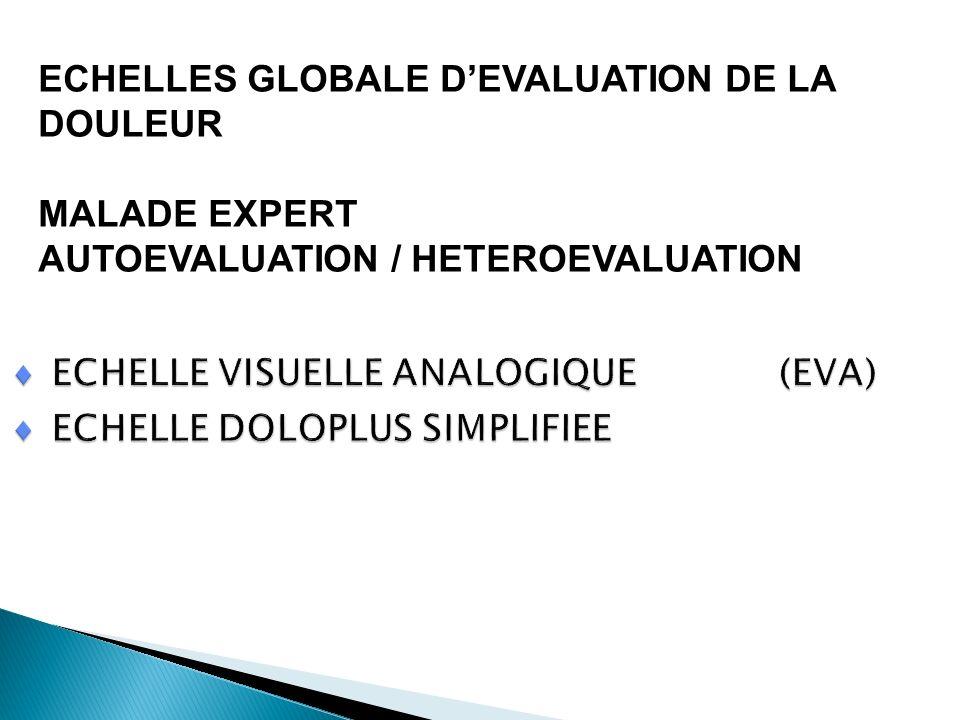 ECHELLES GLOBALE D'EVALUATION DE LA DOULEUR