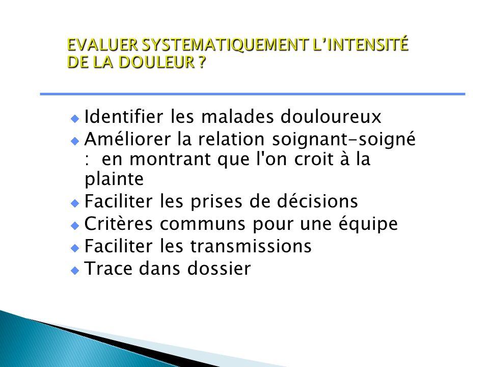 EVALUER SYSTEMATIQUEMENT L'INTENSITÉ DE LA DOULEUR