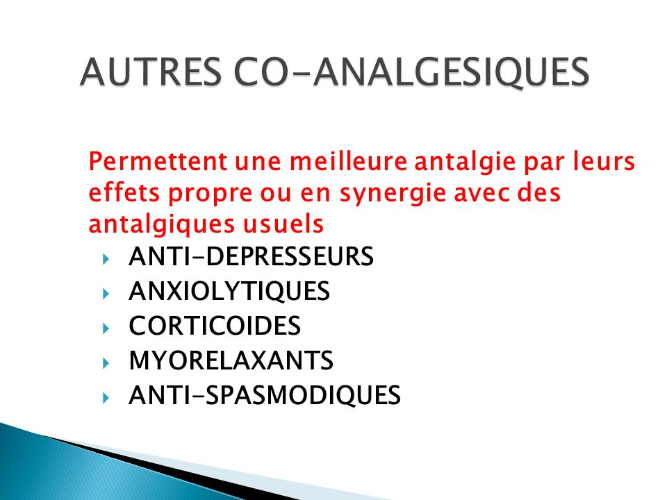 AUTRES CO-ANALGESIQUES
