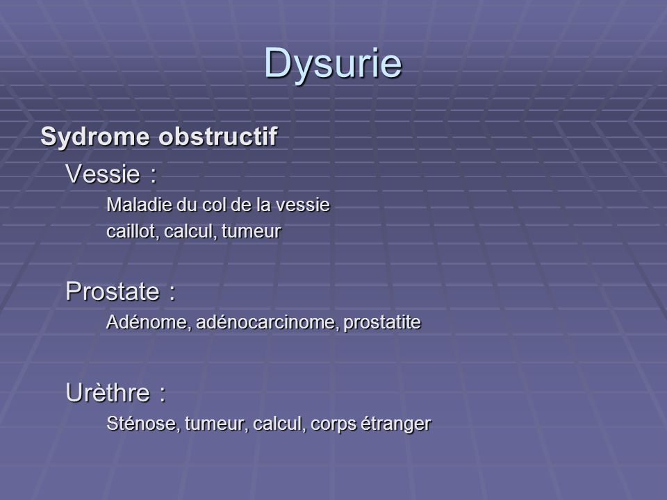 Dysurie Sydrome obstructif Vessie : Prostate : Urèthre :