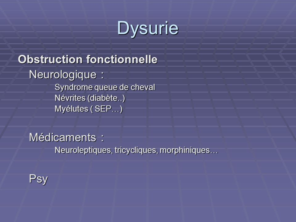 Dysurie Obstruction fonctionnelle Neurologique : Médicaments : Psy