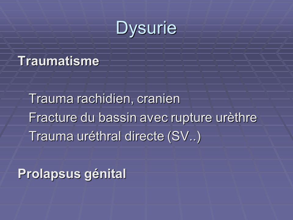 Dysurie Traumatisme Trauma rachidien, cranien