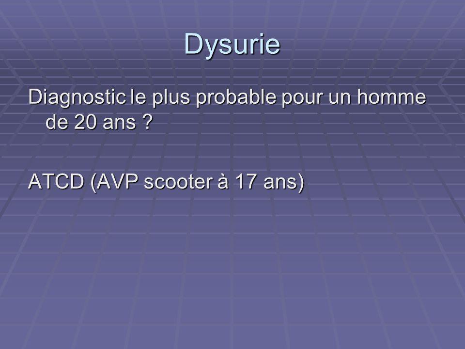 Dysurie Diagnostic le plus probable pour un homme de 20 ans