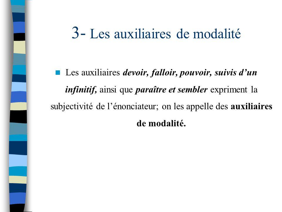 3- Les auxiliaires de modalité