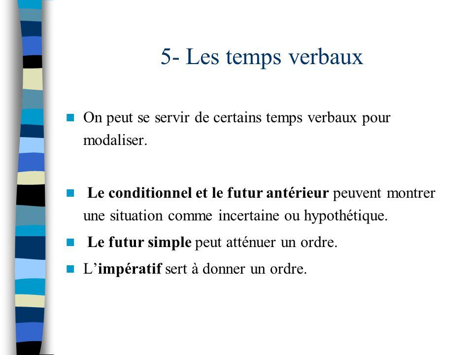 5- Les temps verbaux On peut se servir de certains temps verbaux pour modaliser.