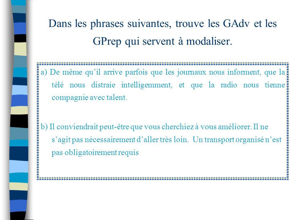 Dans les phrases suivantes, trouve les GAdv et les GPrep qui servent à modaliser.
