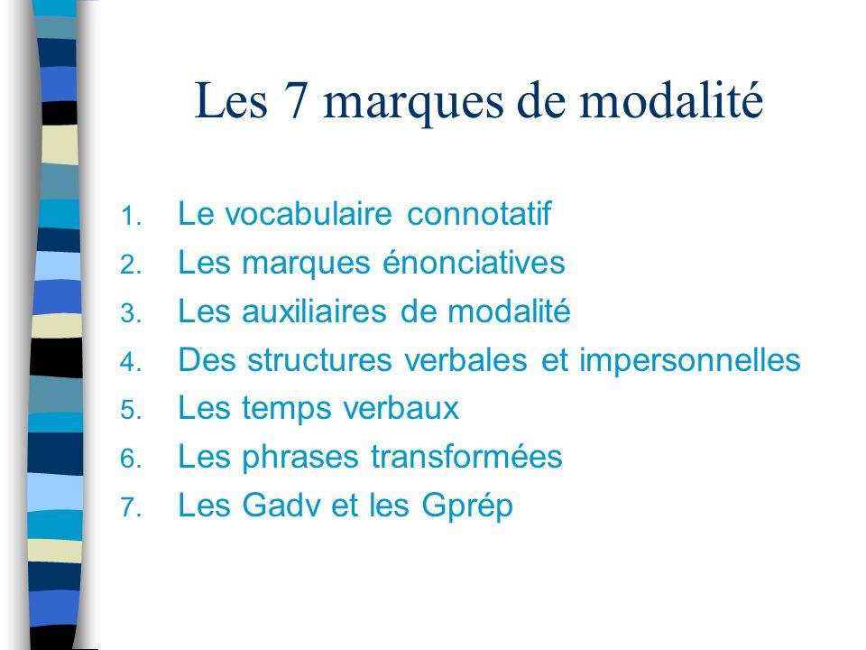 Les 7 marques de modalité