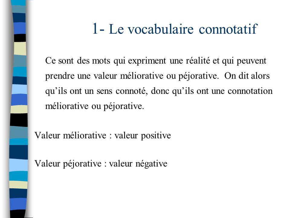 1- Le vocabulaire connotatif