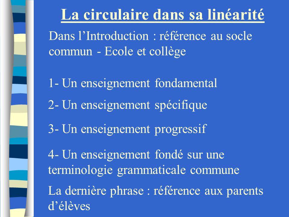 La circulaire dans sa linéarité