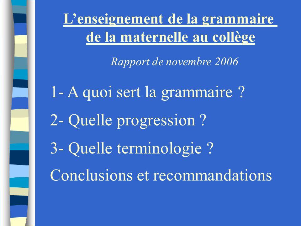 L'enseignement de la grammaire de la maternelle au collège