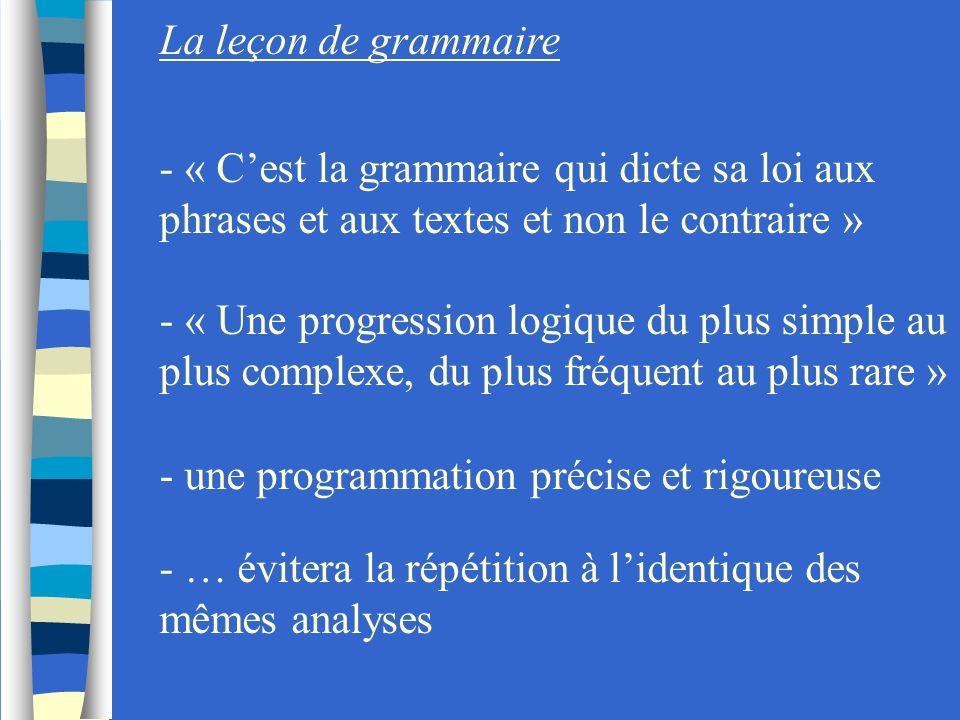 La leçon de grammaire- « C'est la grammaire qui dicte sa loi aux phrases et aux textes et non le contraire »